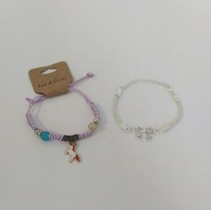 2 Girls Bracelets Silver Bow PurpleUnicorn